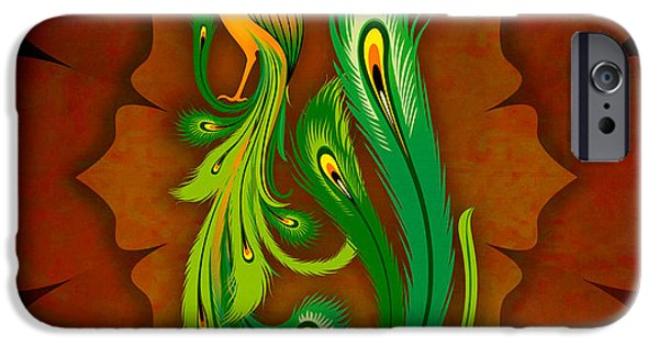 Ornament Pyrography iPhone Cases - Enchanting Peacock 1 iPhone Case by Bedros Awak