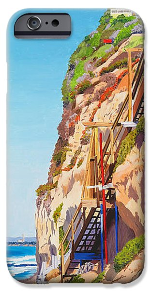Staircase iPhone Cases - Encinitas Beach Cliffs iPhone Case by Mary Helmreich