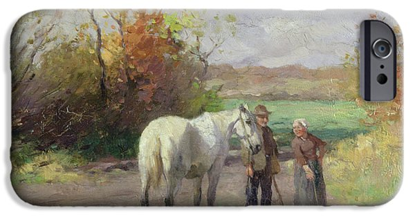 Meeting iPhone Cases - Encounter On The Way To The Field, 1897 Oil On Panel iPhone Case by Thomas Ludwig Herbst