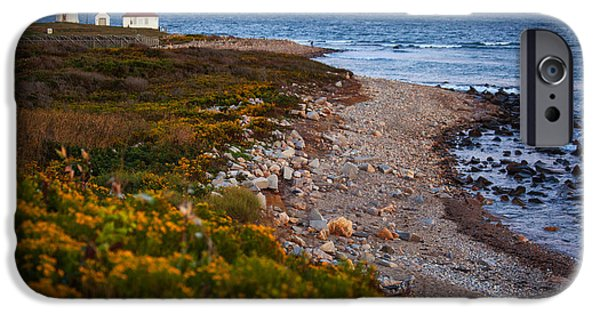 New England Lighthouse iPhone Cases - End Of Day At Port Judith iPhone Case by Karol  Livote