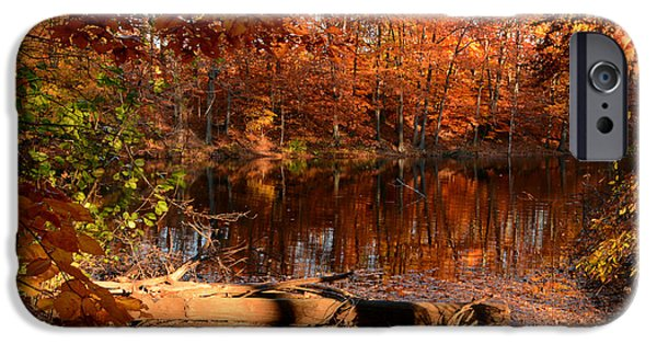 Autumn In New England iPhone Cases - End Of Path iPhone Case by Lourry Legarde