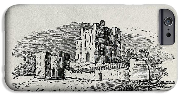 Ruin iPhone Cases - Endpiece Wood Engraving iPhone Case by Thomas Bewick
