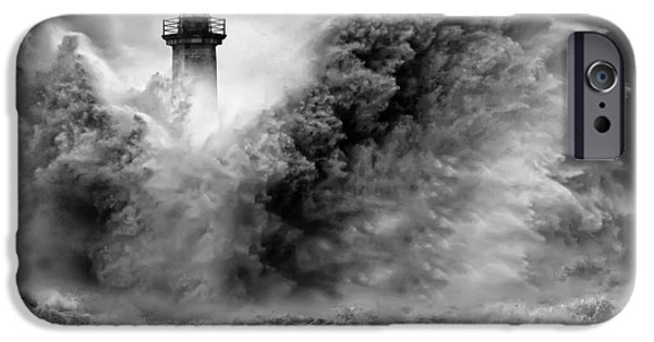 Lighthouse Pyrography iPhone Cases - Enduring the Elements BW iPhone Case by Veselin Malinov