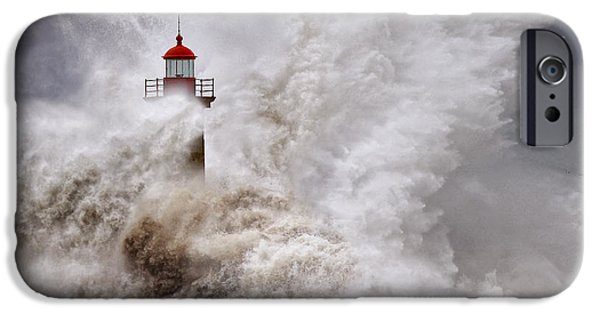 Lighthouse Pyrography iPhone Cases - Enduring the Elements iPhone Case by Veselin Malinov