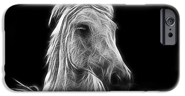 Fractal Photographs iPhone Cases - Energetic White Horse iPhone Case by Joachim G Pinkawa