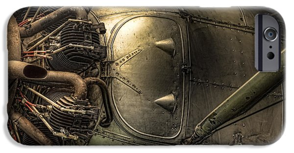 Intrigue iPhone Cases - Engine and fuselage detail - Radial engine aluminum fuselage vintage aircraft iPhone Case by Gary Heller