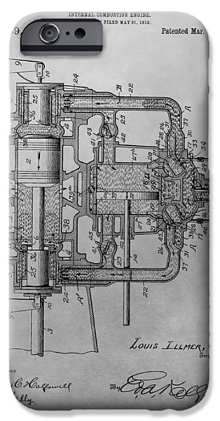 Combustion iPhone Cases - Engine Patent Drawing iPhone Case by Dan Sproul