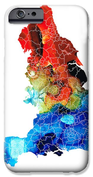 Europe Mixed Media iPhone Cases - England - Map of England by Sharon Cummings iPhone Case by Sharon Cummings