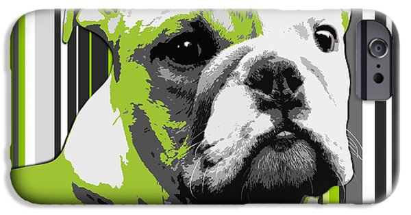 Puppy Digital iPhone Cases - English Bulldog Puppy Abstract iPhone Case by Natalie Kinnear