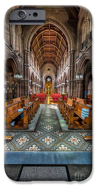 Glass Wall Digital iPhone Cases - English Church iPhone Case by Adrian Evans