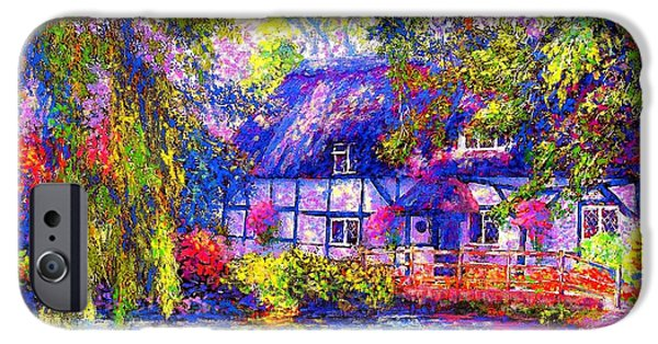 Window Paintings iPhone Cases - English Cottage iPhone Case by Jane Small