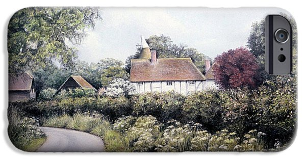 Barn Landscape Pastels iPhone Cases - English Country Lane iPhone Case by Rosemary Colyer