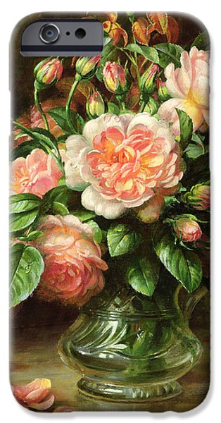Rose Petals iPhone Cases - English Elegance Roses in a Glass iPhone Case by Albert Williams