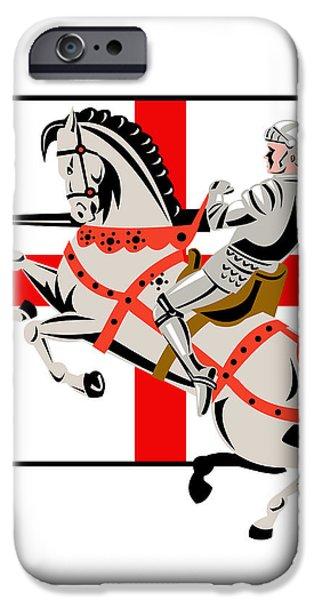 English Knight Lance Horse England Flag Side Retro iPhone Case by Aloysius Patrimonio