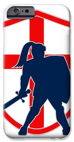 English Knight Silhouette England Flag Retro iPhone Case by Aloysius Patrimonio