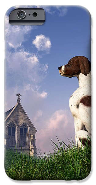 Dogs Digital Art iPhone Cases - English Pointer and Little Church iPhone Case by Daniel Eskridge