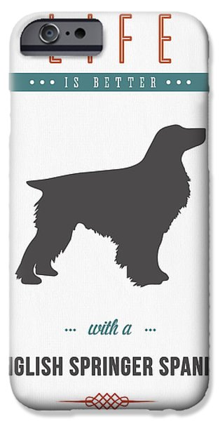 Dog Mixed Media iPhone Cases - English Springer Spaniel 01 iPhone Case by Aged Pixel