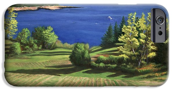Maine Farms Paintings iPhone Cases - Englishmans Bay iPhone Case by Rosemarie Morelli