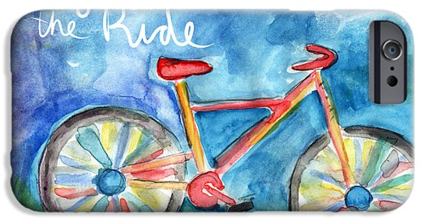 Card Mixed Media iPhone Cases - Enjoy The Ride- Colorful Bike Painting iPhone Case by Linda Woods