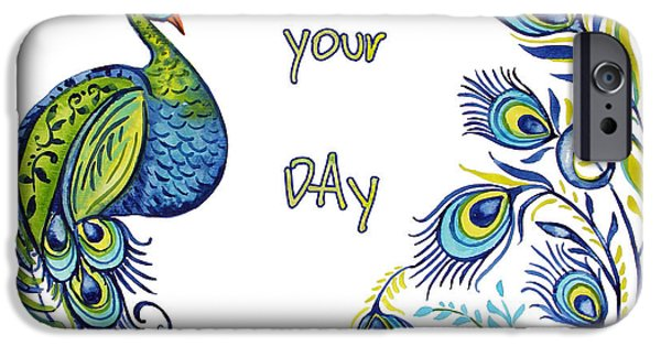 Nature Study Paintings iPhone Cases - Enjoy Your Day Peacock-B iPhone Case by Jean Plout