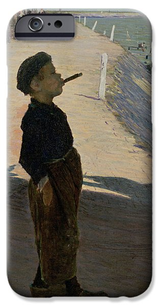 Smoking iPhone Cases - Enjoying Life, Volendam, Zuider Zee iPhone Case by George Sherwood Hunter