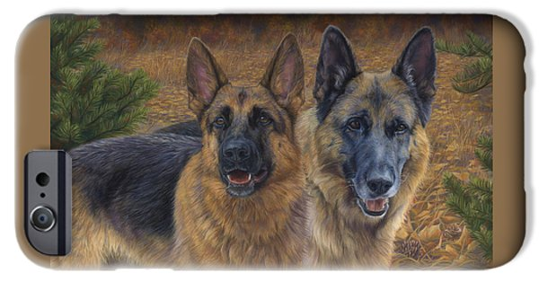 Dogs Paintings iPhone Cases - Enjoying the Fall iPhone Case by Lucie Bilodeau