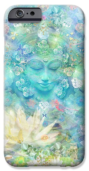 Buddhism iPhone Cases - Enlightened Forest Heart 3 iPhone Case by Alixandra Mullins