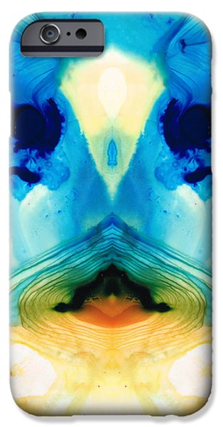 Creatures Paintings iPhone Cases - Enlightenment - Abstract Art By Sharon Cummings iPhone Case by Sharon Cummings
