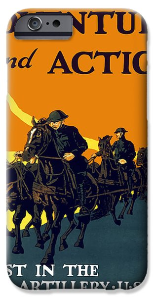 World War One iPhone Cases - Enlist In The Field Artillery iPhone Case by War Is Hell Store