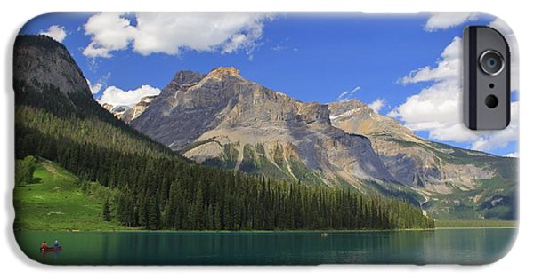 Canoe iPhone Cases - Enmerald Lake Jasper National Park iPhone Case by Mo Barton