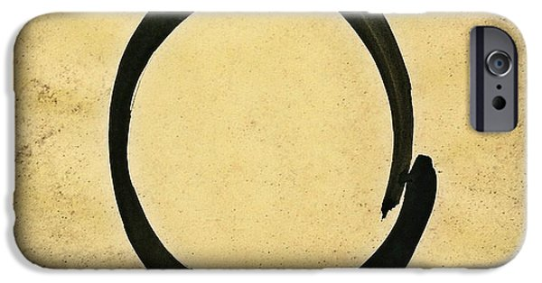 Buddhism iPhone Cases - Enso #4 - Zen Circle Abstract Sand and Black iPhone Case by Marianna Mills