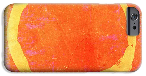 Buddhist Paintings iPhone Cases - Enso No. 109 Yellow on Pink and Orange iPhone Case by Julie Niemela
