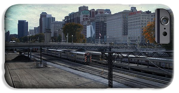 Willis Tower iPhone Cases - Entering Chicago From The SWS Rail Lines Blue Sky Textured iPhone Case by Thomas Woolworth