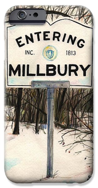 Scott Nelson Paintings iPhone Cases - Entering Millbury iPhone Case by Scott Nelson