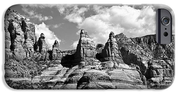 Oak Creek iPhone Cases - Entering Sedona in Black and White iPhone Case by Lee Craig