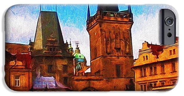 Charles Bridge Digital Art iPhone Cases - Entering the Old Town iPhone Case by Jo-Anne Gazo-McKim