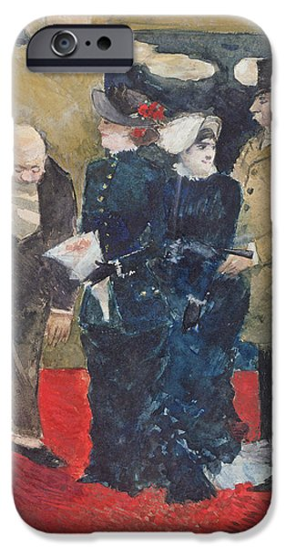 Waiter Photographs iPhone Cases - Entering The Restaurant, 1879 Oil On Canvas iPhone Case by Jean Louis Forain