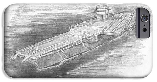 Enterprise Drawings iPhone Cases - Enterprise Aircraft Carrier iPhone Case by Michael Penny