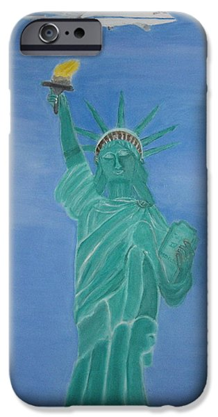 Enterprise on Statue of Liberty iPhone Case by Vandna Mehta