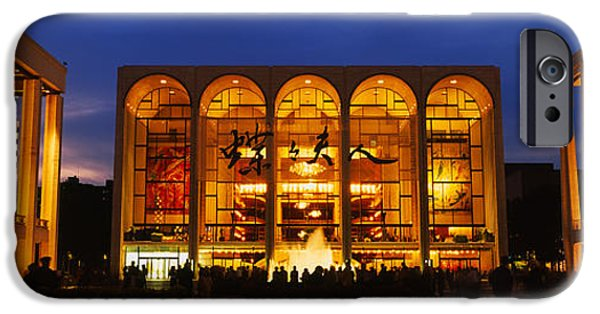 Lincoln iPhone Cases - Entertainment Building Lit Up At Night iPhone Case by Panoramic Images