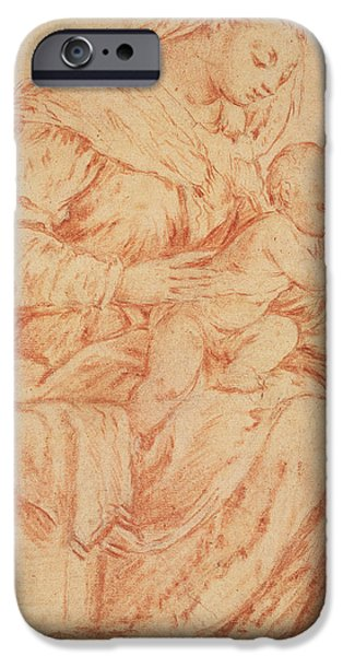 Madonna iPhone Cases - Enthroned Madonna and Child iPhone Case by Jacopo Bassano