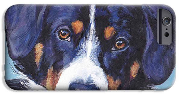 Switzerland Paintings iPhone Cases - Entlebucher Mountain Dog iPhone Case by Lee Ann Shepard