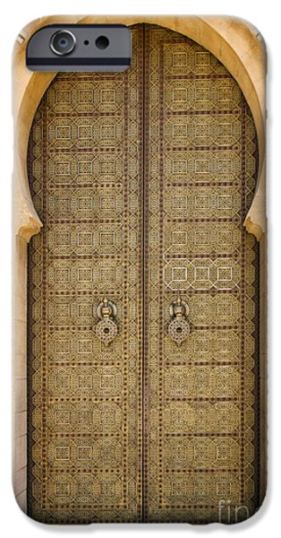 Entrance Door Photographs iPhone Cases - Entrance Door to the Mausoleum Mohammed V Rabat Morocco iPhone Case by Ralph A  Ledergerber-Photography