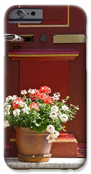 Entrance door with flowers iPhone Case by Heiko Koehrer-Wagner