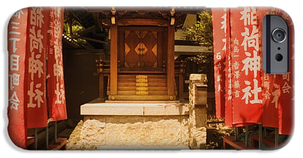 Flag iPhone Cases - Entrance Of A Shrine Lined With Flags iPhone Case by Panoramic Images