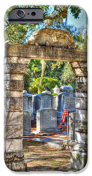 Cemetary iPhone Cases - Entrance stone iPhone Case by Linda Covino