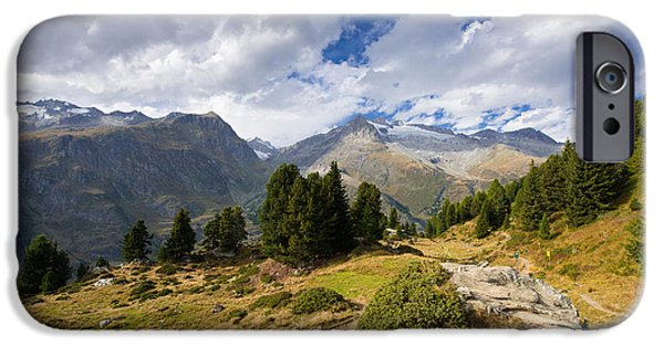 Forest iPhone Cases - Entrance to Aletschwald Forest Valais Switzerland iPhone Case by Matthias Hauser