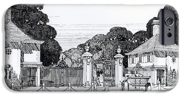 Works Drawings iPhone Cases - Entrance to Brooklandwood iPhone Case by Thomas Hayton Mawson