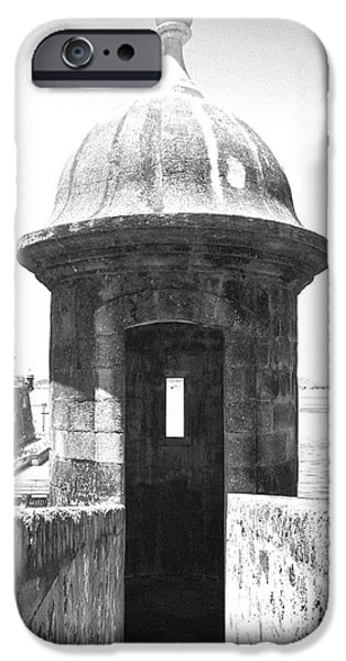 Entrance to Sentry Tower Castillo San Felipe Del Morro Fortress San Juan Puerto Rico BW Film Grain iPhone Case by Shawn O'Brien