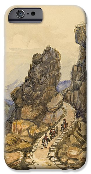Rocks Drawings iPhone Cases - Entrance to the Almanna Gau Circa 1862 iPhone Case by Aged Pixel